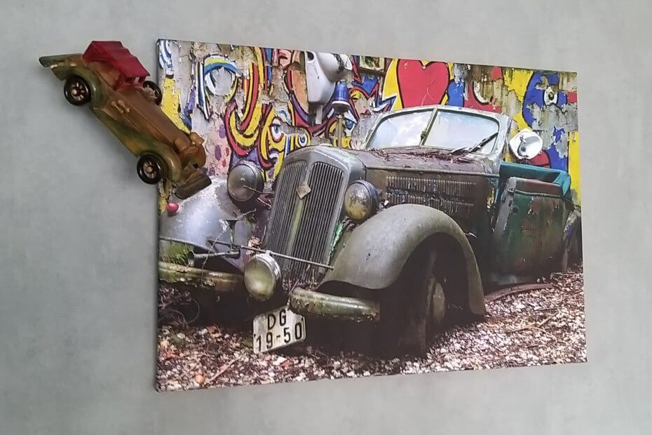 wanddecoratie met auto